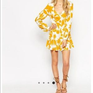 ASOS floral romper with blouson sleeves